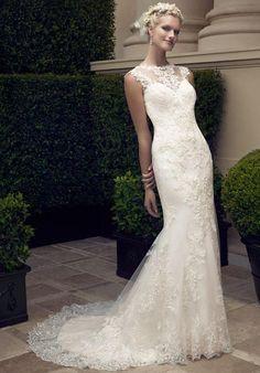Sheath wedding dress with illusion neckline and natural waist. Plus-Size available | Casablanca 2198 | https://www.theknot.com/fashion/2198-casablanca-bridal-wedding-dress?utm_source=pinterest.com&utm_medium=social&utm_content=may2016&utm_campaign=beauty-fashion&utm_simplereach=?sr_share=pinterest
