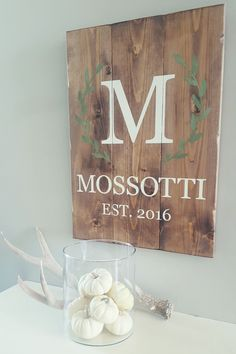 """GORGEOUS family sign featuring your family's name with established date. - Measures approx. 16.5 """" X 24"""" - Hand assembled and painted - Example shown in a custom blend with Antique White and Boxwood. #housewarminggifts"""
