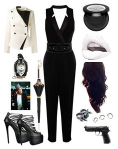 """""""Olivia Cobblepot"""" by karabear3256 ❤ liked on Polyvore featuring Veronica Beard, Warehouse, Forever 21, Judith Leiber, Perfection Beauty, Beretta, Pasotti Ombrelli, Mawi and Eddie Borgo"""