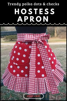 Love this cute polka dot apron! You'd be the hostess with the most-est for sure while wearing it! #apron #hostess #handmade #etsy #giftforher #affiliate