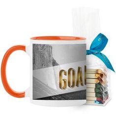 Goal Digger Mug, Orange, with Ghirardelli Assorted Squares, 11 oz, White
