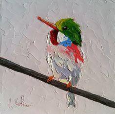 "www.halliekohnart.com ""Tody Bird (2)"" oil palette knife painting 6x6"