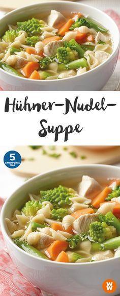 Hühner-Nudel-Suppe   5 SmartPoints/Portion, Weight Watchers, fertig in 15 min.