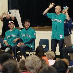 Ichiro, Hisashi Iwakuma and Munenori Kawasaki (Seattle Mariners)