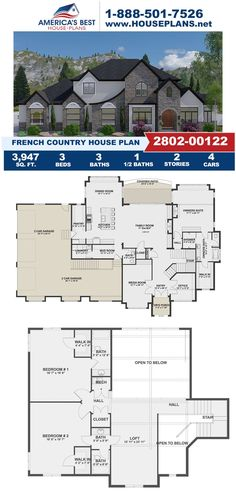 Fall in love with Plan 2802-00122, a French Country design that offers 3,947 sq. ft., 3 bedrooms, 3. bathrooms, a covered patio, an exercise room, a loft, and an office concept. Learn more about this design on our website. Floor Plan Drawing, Basement Layout, French Country House Plans, Floor Framing, Floor Layout, French Countryside, Best House Plans, Build Your Dream Home, Workout Rooms