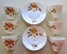 Yellow Rose Regency Bone China Tea Service 6 Cups, 6 Saucers & 6 Plates