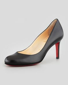 Simple Leather Red Sole Pump, Black by Christian Louboutin at Neiman Marcus. Quest for perfect work pumps Work Pumps, Pumps Heels, Black Pumps, Black Shoes, Leather Pumps, Black Leather, Casual Work Shoes, Black Christian Louboutin