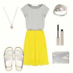 Grey Short Sleeve Contrast Yellow Chiffon Hem Beach Dress
