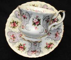 Royal Albert England Love Story Pastel Jennifer Mauve Purple Tea Cup and Saucer