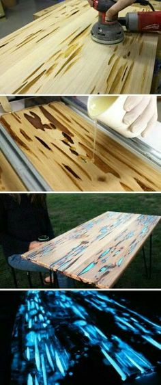 Dope table. Sand it and pour glow in the dark or black light paint into the cracks! Then finish over.