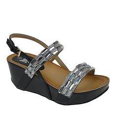 Another great find on #zulily! Black & Pewter Tara Rhinestone Wedge Sandal by Zuka #zulilyfinds