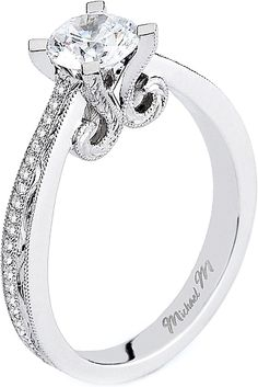 Michael M. Pave & Engraved Diamond Engagement Ring- since1910.com