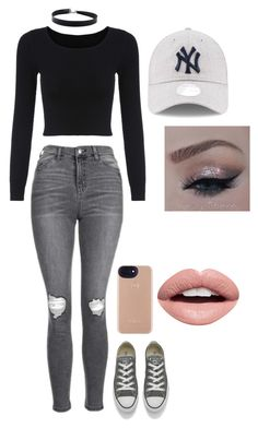 """Untitled #312"" by anat-love-fashion ❤ liked on Polyvore featuring Topshop, Converse and Nevermind"