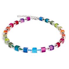 Signature Cube Necklace in Multicolored - Silver by Coeur De Lion Jewelry