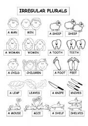 English worksheet: IRREGULAR PLURALS