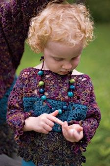 Child's Boho Blocks Granny Square Pullover: free pattern available.