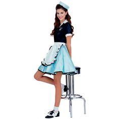Disfraz camarera años 50. Grease Divertido y coqueto disfraz de camarera inspirado en los años 50 donde tiene lugar el musical Grease, con John Travolta y Olivia Newton-John.