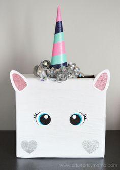 Unicorn Valentine Card Box at artsyfartsymama.com