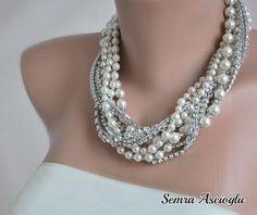 Vintage estilo grueso de novia perla y Rhinestone collar plata, novias, regalo de damas de honor