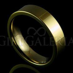 Aliança de casamento em tungstênio Pacífico com espessura de 6mm, formato cilíndrico e reto clássico, cor ouro.
