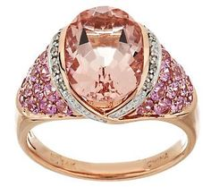 Morganite and pink sapphire show off their girly best in this BLUSHED rose gold cocktail ring. You should join them for the party!