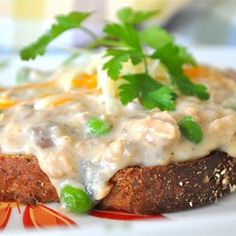 Creamed Salmon on Toast - Saute some onion and add herbs/Old Bay, maybe some mustard