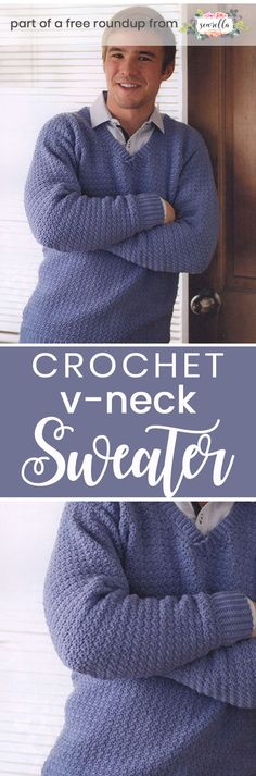 Get the free crochet pattern for this Crochet Mens V-Neck Pullover Sweater from Knitted Patterns featured in my husband-approved crochet sweaters for men FREE pattern roundup!