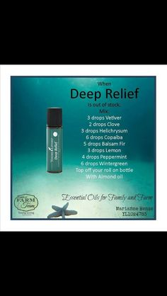 Deep Relief Recipe - use as a master blend. Put drops of master blend into 10 ml bottle and fill with carrier oil. Used to good Samaritan and added vinegar, peppermint, and fractionated coconut oil. Essential Oils For Pain, Essential Oil Uses, Young Living Essential Oils, Roller Bottle Recipes, Healing Oils, Perfume, Young Living Oils, Doterra Essential Oils, Yl Oils