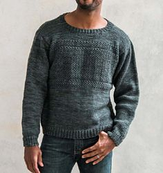 This sweater starts and ends with comfort and style—simple, yet interesting to knit and fun to wear. The bands of seed stitch make the knitting more fun and give the final sweater a subtle masculinity. A wide crew neck offers guys room for a shirt underneath without constricting. The modified drop shoulder is set-in slightly offering ease of finishing with a slightly tailored look. It also gives the appearance of