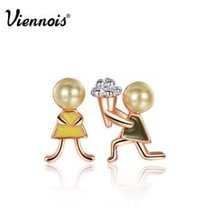 """Viennois new rose gold plated """"would you marry me """"Stud earrings #Viennois #Stud"""