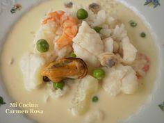 Mi cocina: GAZPACHUELO (SOPA TRADICIONAL Y TIPICA DE LA BARRIADA MARINERA DE MALAGA: EL PALO) Risotto, Potato Salad, Shrimp, Salsa, Potatoes, Chicken, Meat, Ethnic Recipes, Food