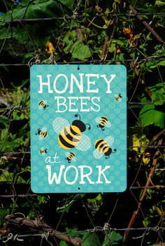 Honey Bees At Work Seafoam 9 X 12 by BainbridgeFarmGoods on Etsy, $25.95