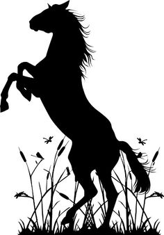 Horse Upright in Grass Wall Art Decal Sticker Home Decor Silhouette Painting, Animal Silhouette, Half Sleeve Tattoo Stencils, Painted Rocks, Art Projects, Art Drawings, Wall Decal, Wall Art, Horses