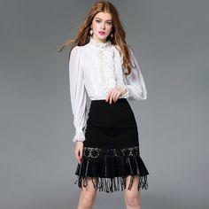 Women's Blouses Loose Elegant Long Sleeve Chiffon Silk Blouse Tops Lace Vintage Ruffled Shirt Bead Button Women Clothing Blusas
