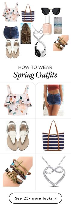 """beach outfit"" by hazelg1113 on Polyvore featuring New Look, Accessorize, Quay, Miadora, Beats by Dr. Dre and Essie"