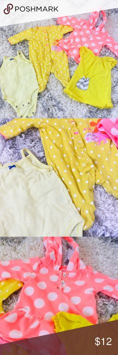 """3 Months Baby Girl Bundle 4-piece baby girl bundle. 2 onesies, fleece polka dot hoodie and cute little chevron yellow dress. New condition. No stains or tears. Mix of Carters and other brands.   ▫️Add to Bundle"""" to add more items in my closet or """"Buy"""" to checkout here with your size.  ↓Follow me on Instagram ↓         @ love.jen.marie  📷YouTube: http://youtu.be/HyJJZVz3gUI   Please subscribe! Xoxo💕  👉🏻↓Etsy Design + Branding Shop↓ www.etsy.com/shop/SparkleCoDesigns Carter's Jackets…"""