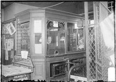 West Fullerton Avenue L station ticket booth, attendant and turnstile, Chicago, 1904. Library of Congress.