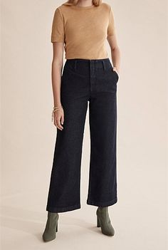 Women's Clothing | New In - Country Road Online Wide Jeans, Denim Jeans, How To Stretch Boots, Stretch Denim, Shoe Size Conversion, Online Purchase, Clothes For Women, Work Clothes, Style Inspiration