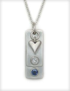 Tiny Tags Necklace. Add your birthstones and personalize with your name and date. Heart and Stone Jewelry.com