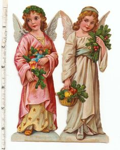 Victorian Die Cuts Paper Dolls Girls Christmas Holly Dress Angel Chromo Scraps