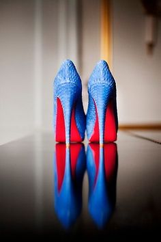 Blue Christian Louboutin wedding shoes