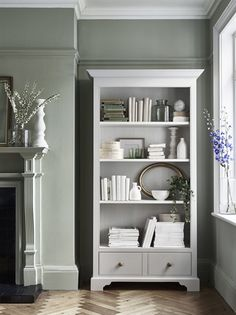 Chichester Tall Wooden Bookcase With Shelves Living Room Inspo, Living Room Green, Home Living Room, Room Design, Paint Colors For Living Room, Wooden Bookcase, Bookcase, Home Decor, Living Room Grey