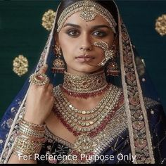 Bridal Jewelry The classic Sabyasachi bridal look in uncut diamonds and tourmalines. Bridal Lehenga, Lehenga Choli, Bridal Looks, Bridal Style, Bridal Make Up, Bridal Jewellery Online, Bollywood, Indian Wedding Jewelry, Indian Jewelry