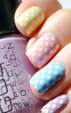 35 Creativos diseños de uñas con puntitos Polka Dot Nails, Blue Nails, White Nails, Polka Dots, Cheetah Nails, Nail Art Diy, Diy Nails, Nail Manicure, New Nail Colors