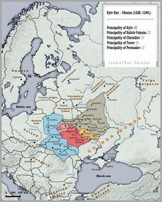 Kievan Rus' in about the time of the Mongol Tatar invasion. It was not Ukraine. In this time there were not Ukrainian nation. Semitic Languages, Indian Language, Prehistory, Historical Maps, Antique Maps, 14th Century, Geography, Rugs On Carpet, Planer