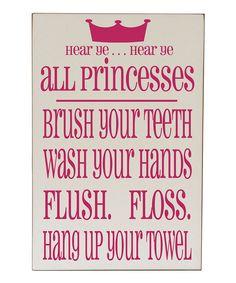 This Cream & Pink 'Princess' Bathroom Wall Art by Vinyl Crafts is perfect! #zulilyfinds