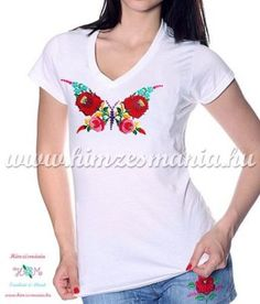 d8604fcbbd Woman V-neck T-shirt - short sleeve - hungarian folk - hand embroidery -  kalocsa butterfly pattern - white