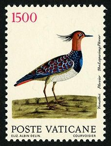 1,500-lire - Lapwing Plover - Vatican Stamp