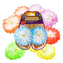 $1 for 2 Luau Fabric Flower Clips.  These are a wonderful find!  I'll use them as party favors for guests as they arrive, and use a few extra as decor.