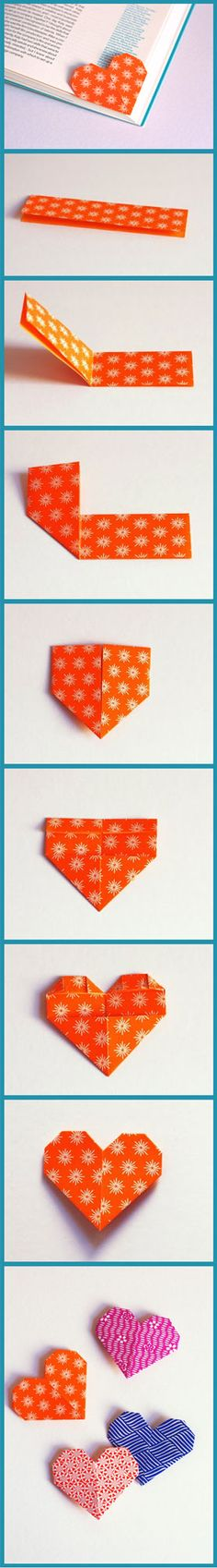 "Page Holder Heart.. Begin by cutting an origami square in half (2.5"" x 5"")..."